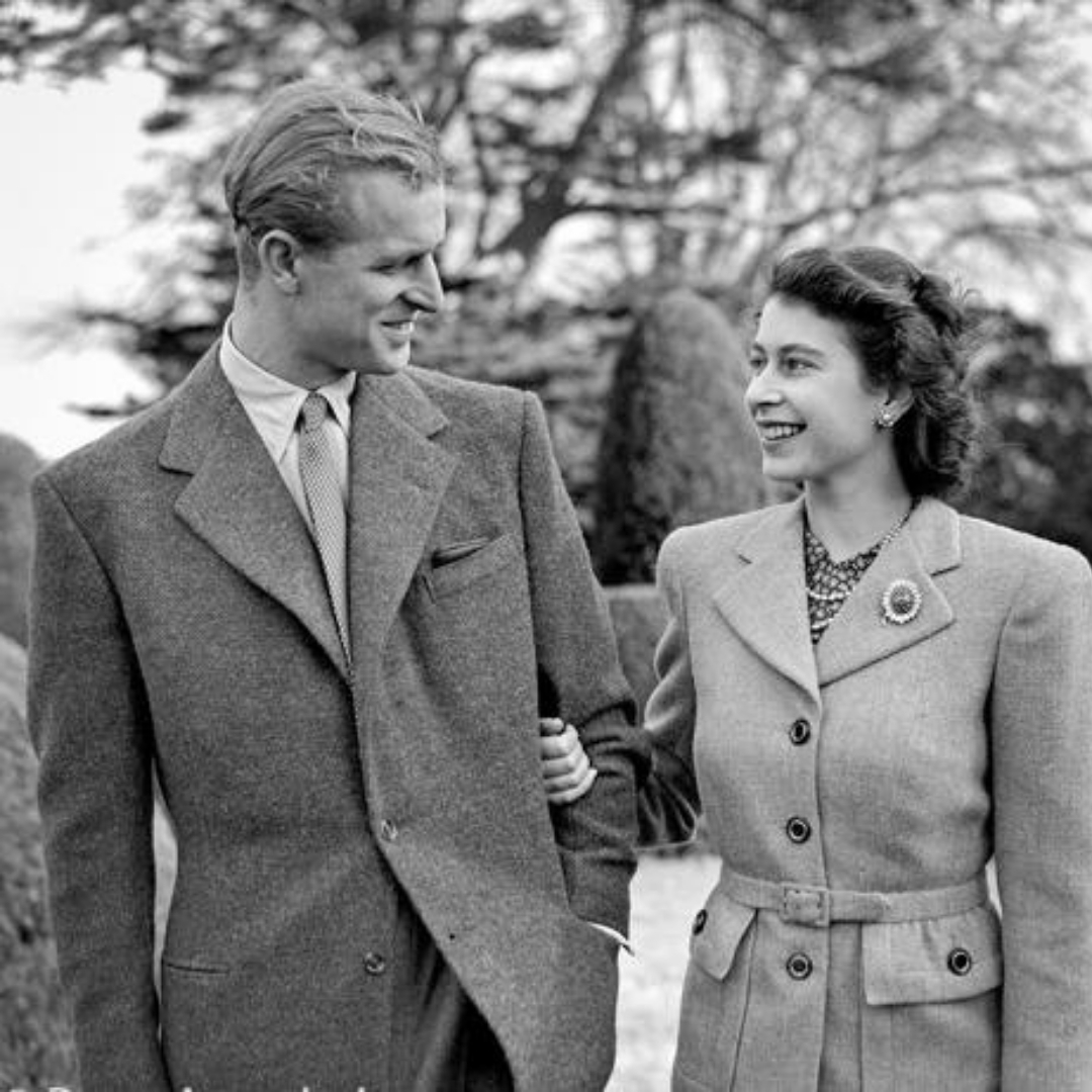 Prince Philip and Queen Elizabeth II during their honeymoon at Broadlands, Romsey, Hampshire (Photo Credit: Topical Press Agency/Getty Images).